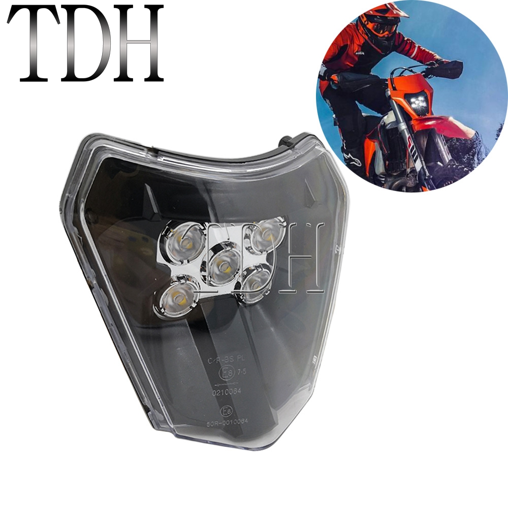 For KTM Husqvarna FE FC 250 350 450 Supermoto Motorcycle Headlight Headlamp Enduro SX-F SX EXC XC-W XC-F Dirt Bike LED Head Lamp