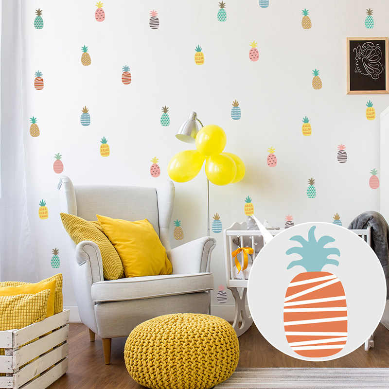 Autocolantes de parede na geladeira cor abacaxi destacável cozinha adesivo decoração do quarto vinil telha adesivos de parede