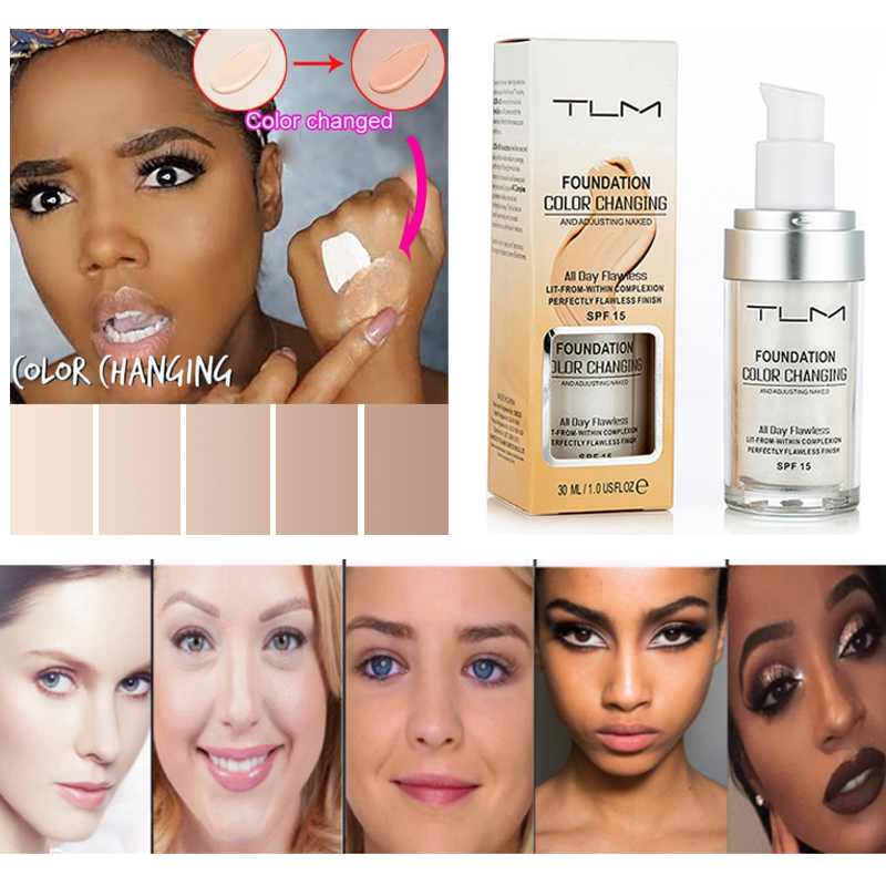 Dropshipping 30ml TLM Cosmetic Color Changing Liquid Face Foundation Makeup Change To Your Skin Acne Concealer SPF 15 TSLM1(China)