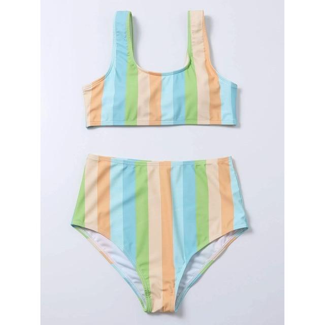 High Waist Bikini Sexy Striped Swimsuit Women Swimwear Female Push up Bikini Set Swimming Wear for Bathing Suit Swimsuits