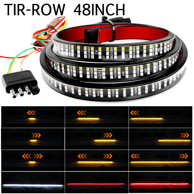 48 Inch Car Truck Flexible LED Strip Light Tail Tailgate Light Bar 3Row Reverse Brake Driving Turn Signal Lamp 12V DC