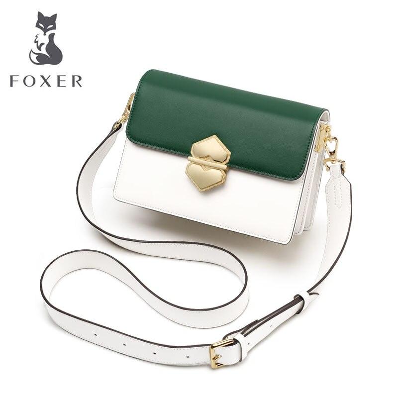 FOXER 2019 New Women leather bags Cowhide quality fashion patchwork women handbags women leather shoulder Crossbody bag 4