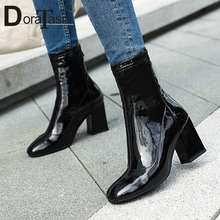 DORATASIA Brand New Plus Size 33-46 Patent Pu Leather Ladies High Chunky Heels Shoes Woman Casual Party Autumn Ankle Boots Women