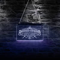 Tattoo Studio Custom Name LED Neon Sign Personalized Tattoo Salon Shop Business Advertisement Wall Art Color Changing Lighting