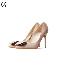 Купить с кэшбэком Goxeou/2019 Autumn New Women Shoes Square Buckle Pointed Toe  Pumps Fashion Mature Women's Shoes