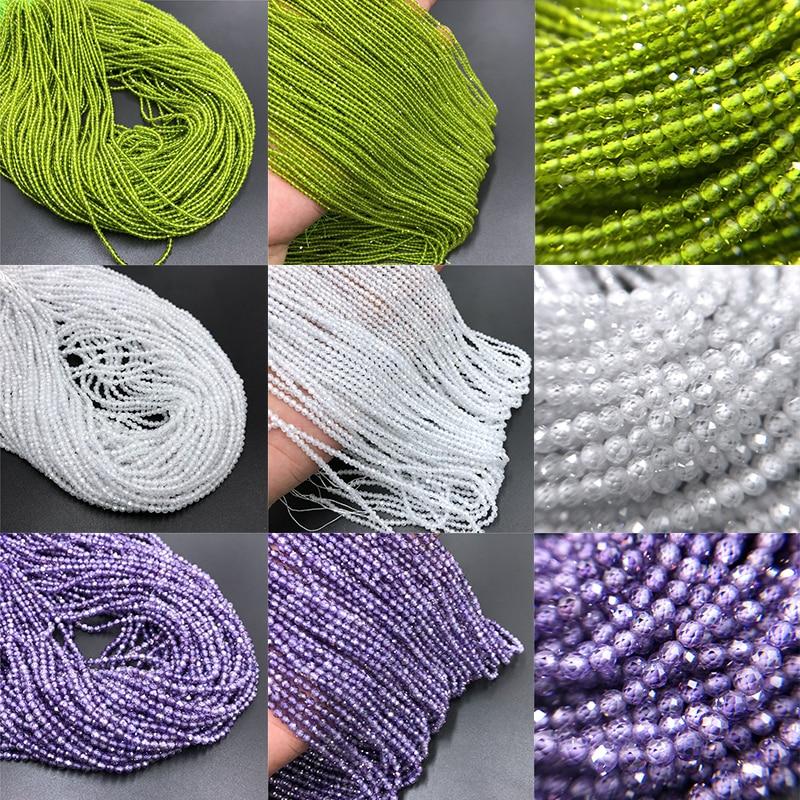 Perles en Zircon naturelles à facettes colorées, grosses perles rondes en cristal de Quartz, 2mm, pour la fabrication de bijoux, collier, Bracelet, pour femmes et hommes