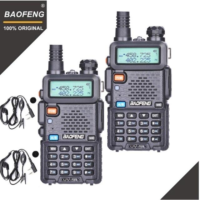 2 pièces BaoFeng UV 5R talkie walkie VHF UHF 136 174Mhz & 400 520Mhz double bande Radio bidirectionnelle jambon Radio UV5R émetteur récepteur Portable UV 5R