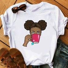 Женская футболка с принтом кофе это первая Африканская черная