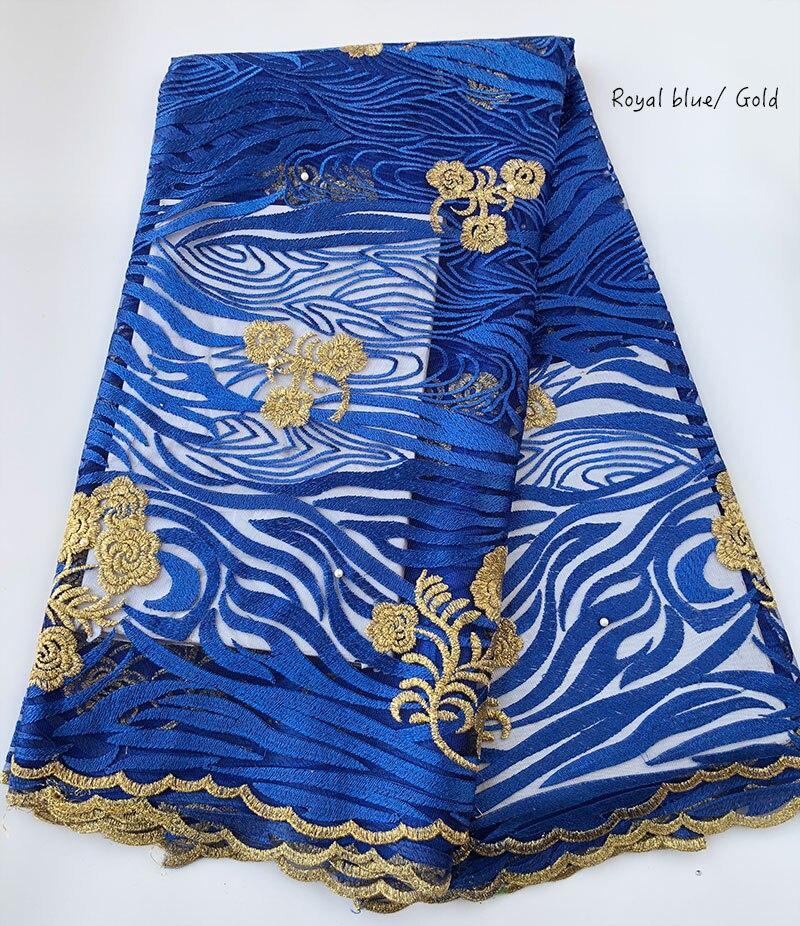 5 metrów Royal niebieski złoty pomarszczone, haft afryki francuski koronki miękki tiul tkaniny dla nigerii suknia wieczorowa do szycia mądry wybór w Koronka od Dom i ogród na  Grupa 1