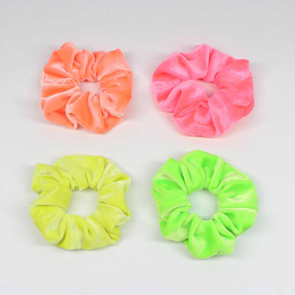 1PC Women Flannel Scrunchies Elastic Hair Ties Girl Solid Color Ponytail Holders Fluorescent Color Bright Women Hair Accessories