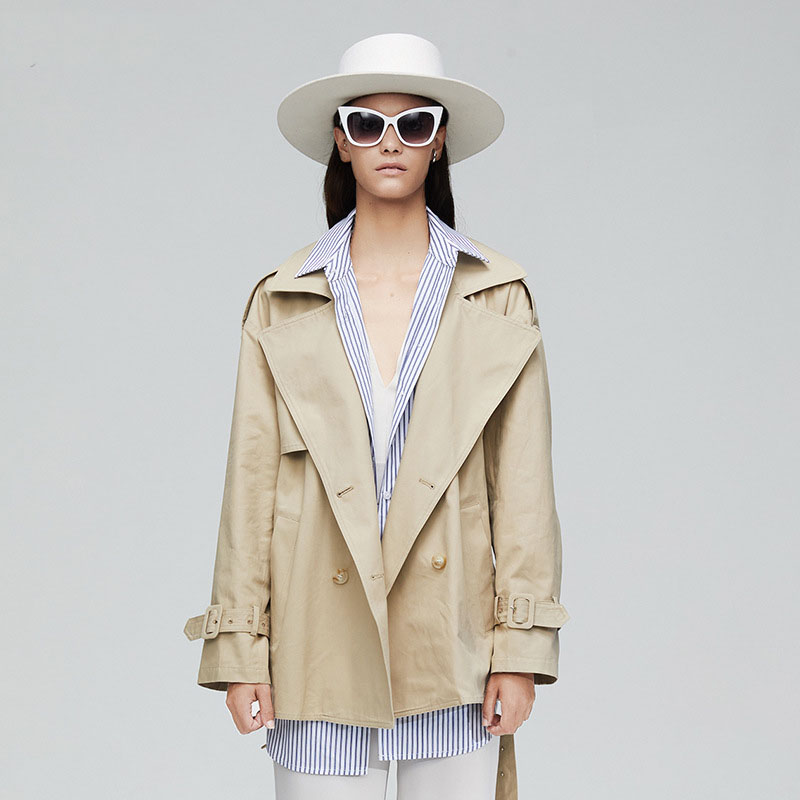 New High Fashion Brand Woman Classic Double Breasted Trench Khaki Turn-down Collar Fake Two Pieces Coat Casual Outerwear