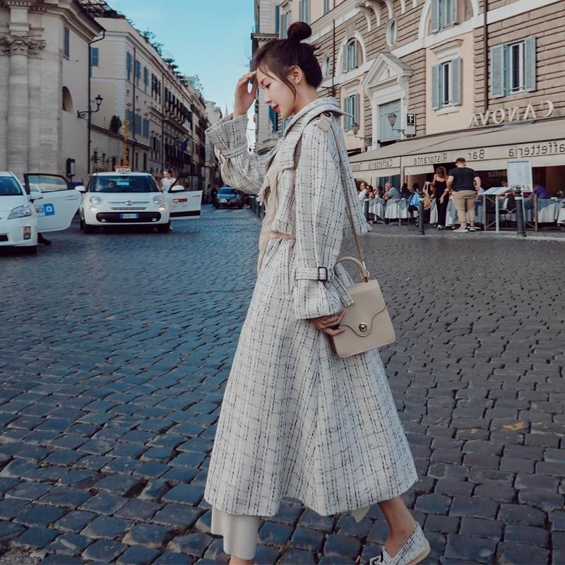 Casaco longo trench coat casacos feminino manteau femme moda feminina moda mujer mais tamanho do vintage elegante túnica roupas coreanas - 3