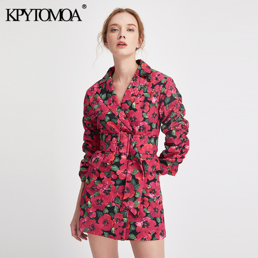 Vintage Stylish Floral Print Suits Style Mini Dress Women 2020 Fashion Notched Collar With Belt Dresses Casual Vestidos Mujer