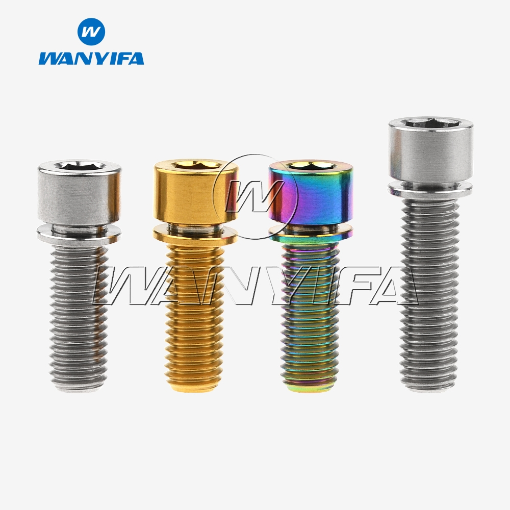 Wanyifa Titanium Ti Bolt M7 x 20 25mm Allen Head with Washers for Bicycle stem Scewrs Pack of 4