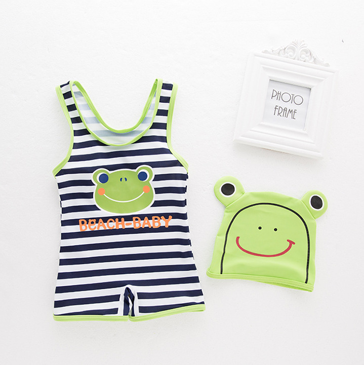 Brand Bathing Suit Boys' Cotton One-piece Swimsuit Frog Stripes Bathing Suit