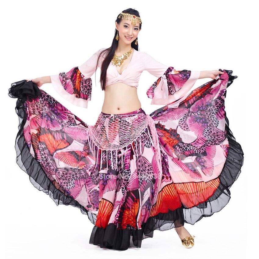 Spanish Flamenco Top Skirt Set for Women Gypsy Chiffon Ruffle Flower Printed Stage Performance Ballroom Pratice 720 Degree Skirt