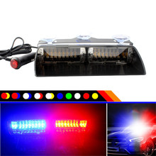 цена на Car Truck Emergency Flasher Dash Strobe Warning Light Day Running Flash Led Police Lights 16 LEDs 18 Flashing Modes 12V