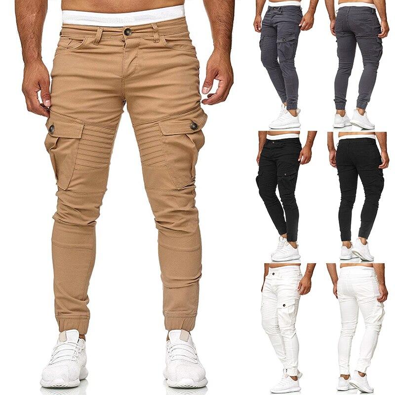 2019 Men's Cool Black Hip Hop Cargo Pants Full Length Elastic Waist Jogger Trousers Sweatpants With Pockets Casual Streetwear