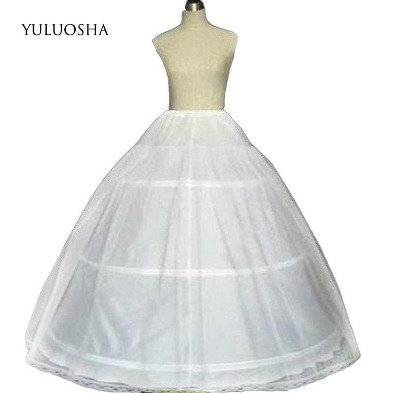 สีขาว 3 Hoops Petticoat Underskirt สำหรับงานแต่งงานชุดเจ้าสาวเจ้าสาว Hoop กระโปรงสั้นลื่นชุด Faldas De Novia