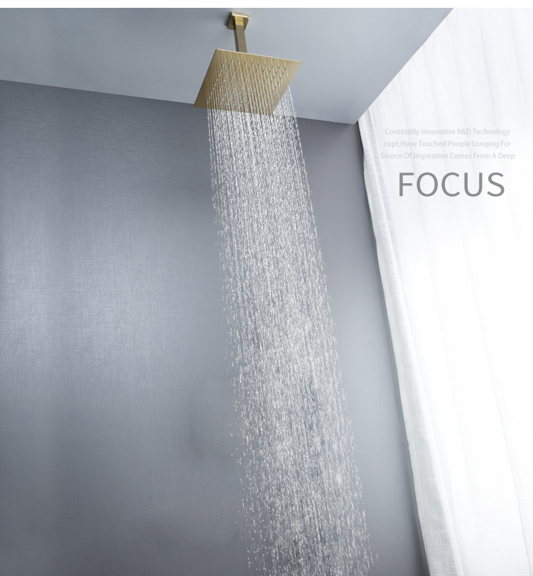 "H7e4604be970445ea840fb29cafb0584bh Brushed Gold Rain Shower Head Bath Faucet Set 8/10/12"" Ceiling Mounted Bathroom Shower Heads Single Function Shower Trim Kit"