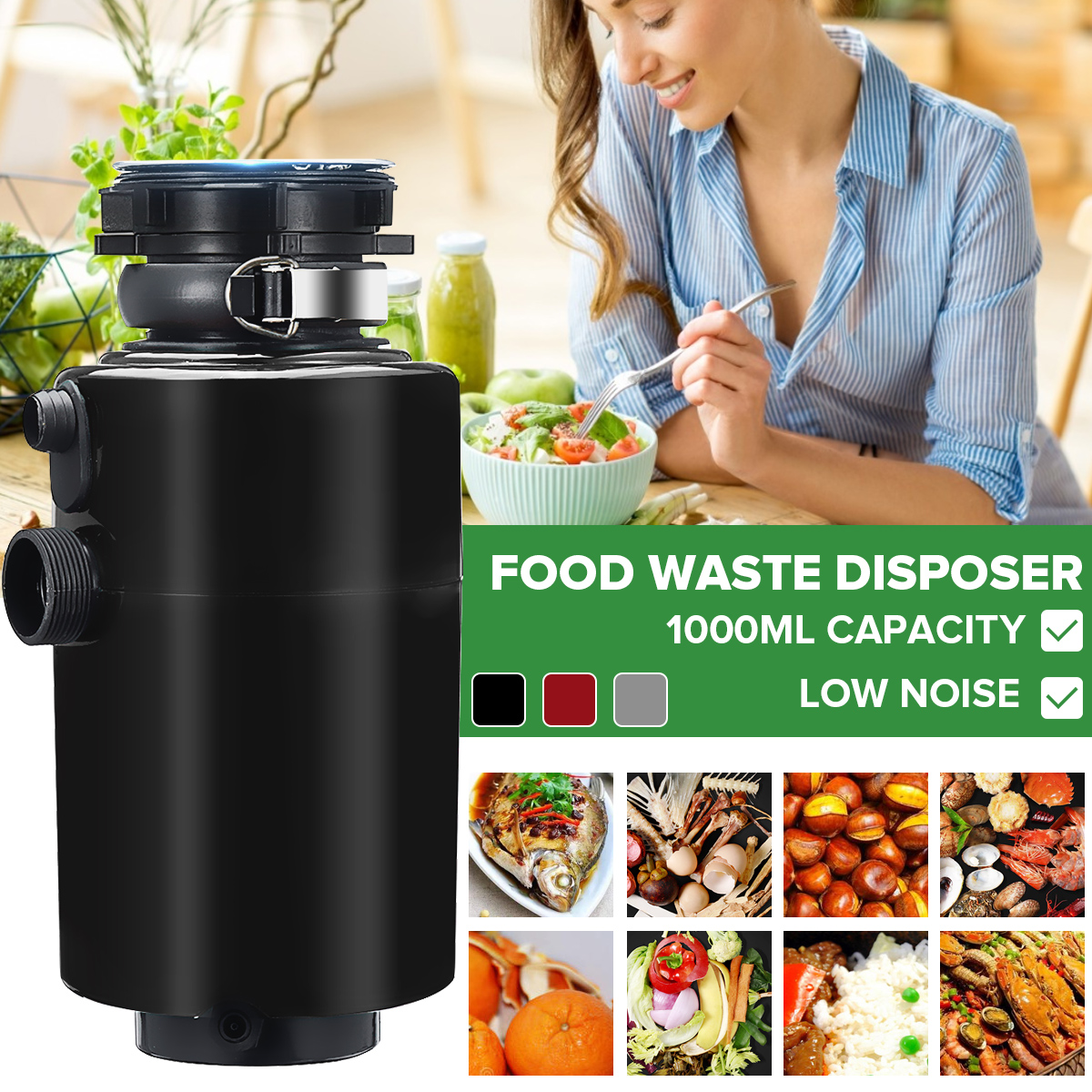 Kitchen Food Garbage Processor Disposal Crusher 3800rpm Food Waste Disposer 900ml Stainless steel Grinder Air Switch 560W 220V