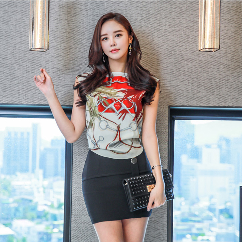 Set 2019 Summer New Products WOMEN'S Dress Debutante Sleeveless Shirt + Sheath Fashion Slim Fit Short Skirt Two-Piece Set