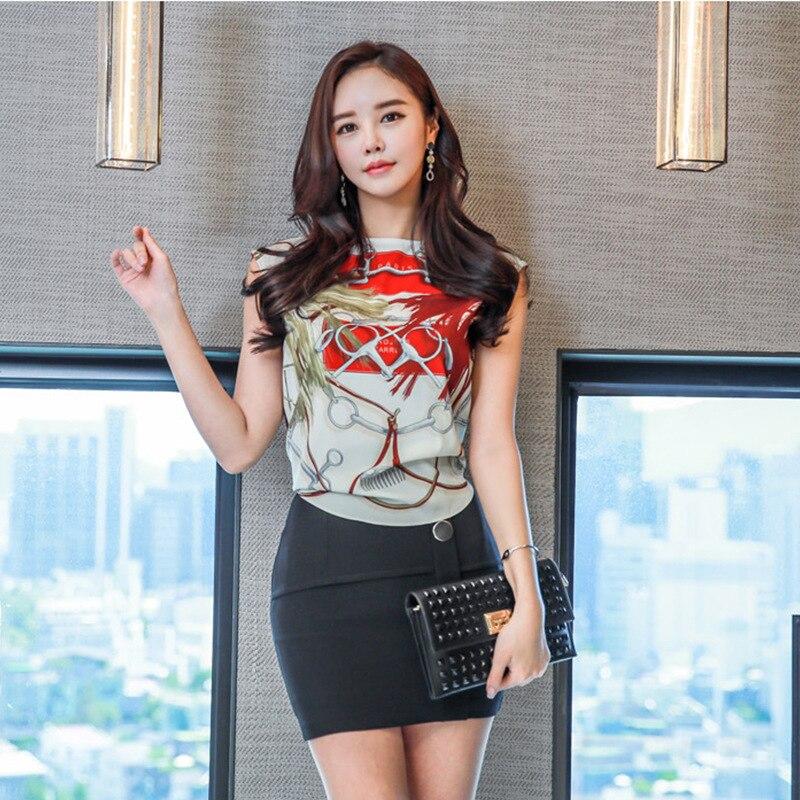 Set 2019 Summer New Products WOMEN'S Dress Debutante Sleeveless Shirt + Sheath Fashion Slim Fit Short Skirt Two-Piece Set