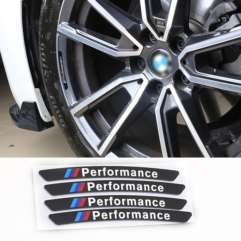 4pcs M Power Performance Aluminium Alloy Stickers Car Wheel Hub Accessories For BMW E34 E36 E60 E90 E46 E39 E70 F10 F20 F30