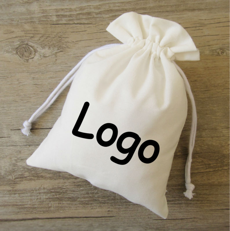 Pure White Cotton Drawstring Bag Sachet Small/Decorative/Product Packaging Bags/Gift/Jewelry Cloth Pouches Custom Logo Print 50