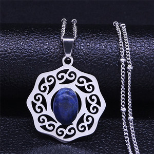 Bohemian Natural Stone Stainless Steel Necklace Pendant Silver Color Necklaces Women Jewelry collares etnicos bohemios N4456S04