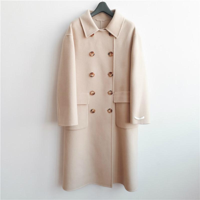 Invierno 2019 nueva moda coreana Casual de gama alta de talla grande suelta doble botonadura negro larga chaqueta de lana caliente de las mujeres - 4