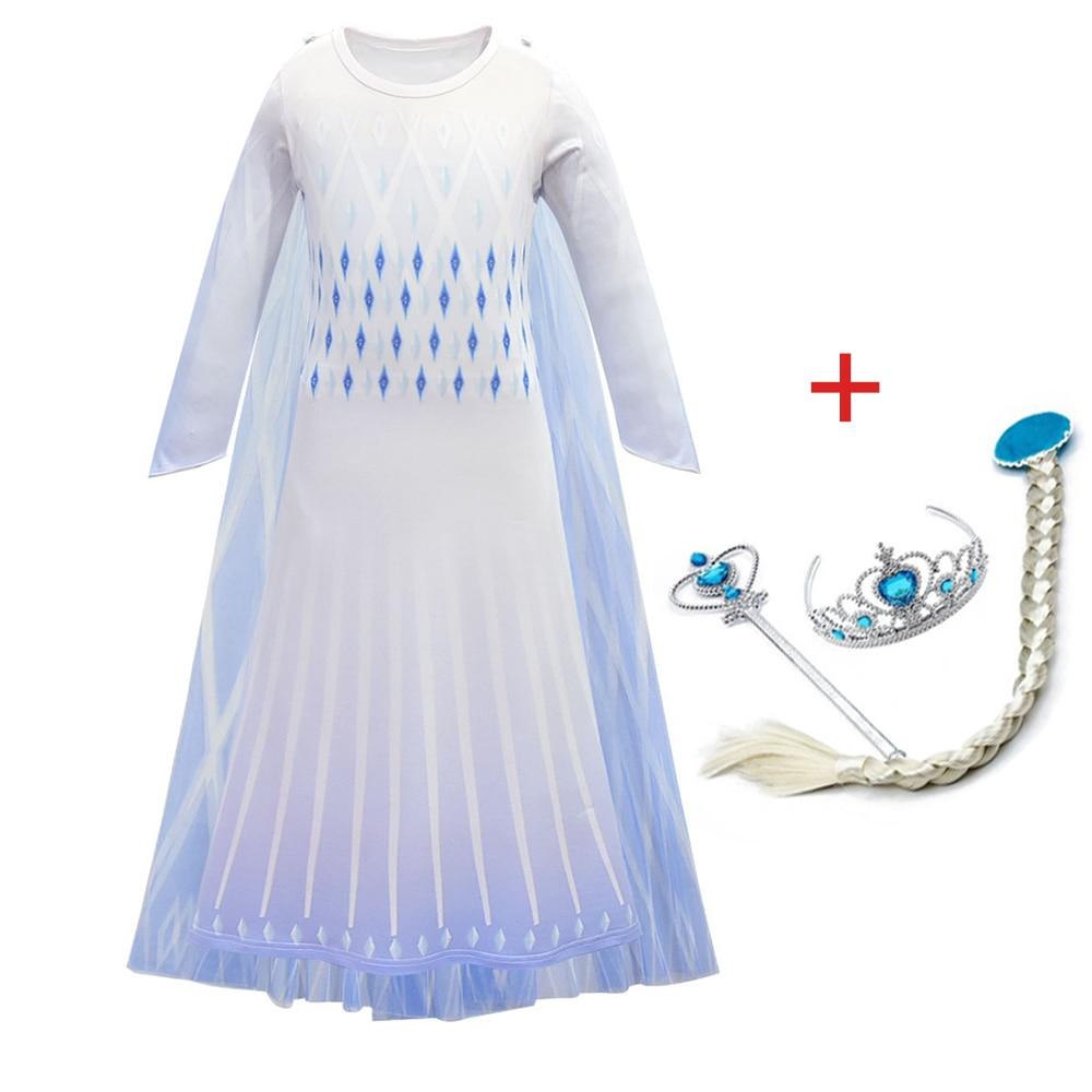 2020 New Anna Elsa Girl Dress  Christmas Halloween Set Birthday White Party Princess Dress Vestidos Wig Cosplay Costume