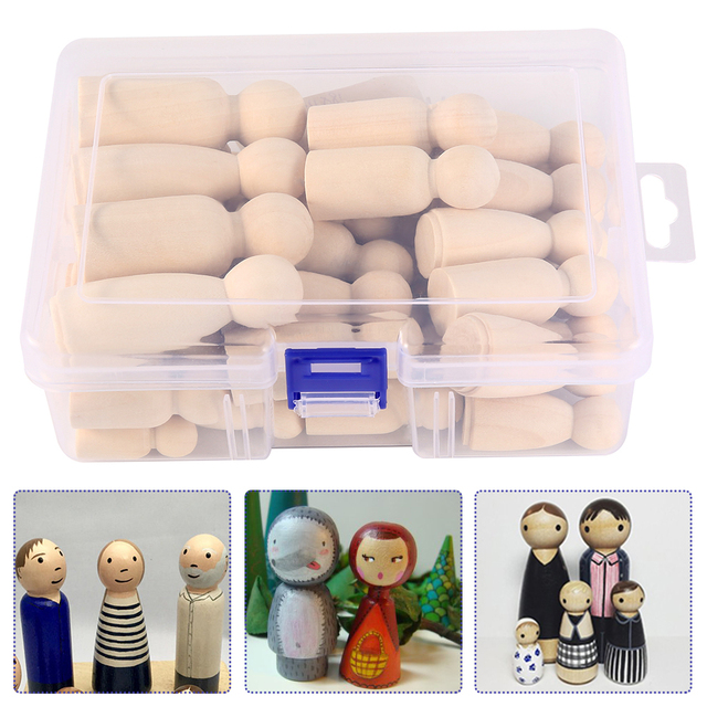 Wooden Peg Dolls 50PCS 65mm,55mm,43mm,35mm Girl Boy Wood Dolls Kids Room Decor DIY Unfinished Wooden Peg Dolls 2