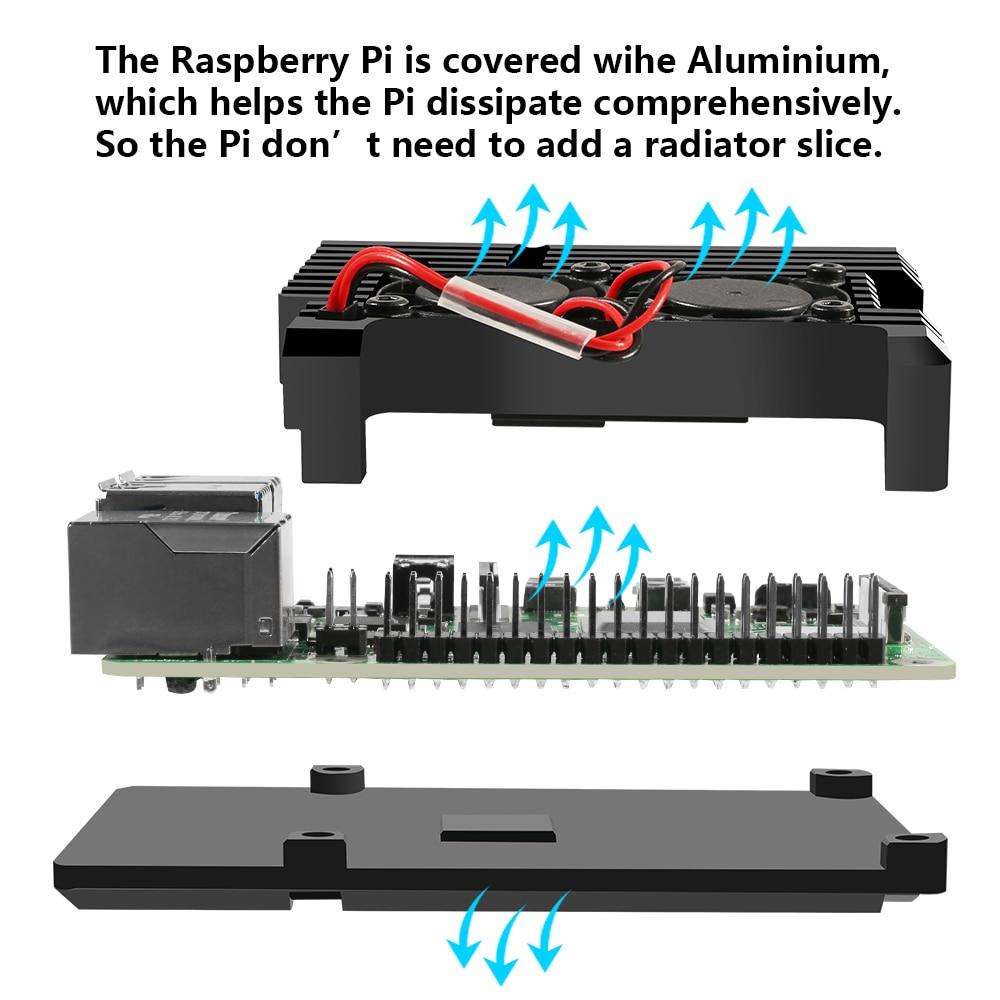 raspberry pi Raspberry Pi 4 B Case Model B Armor Aluminum Alloy Case Passive Cooling Shell Metal Enclosure Heat Dissipation (5)