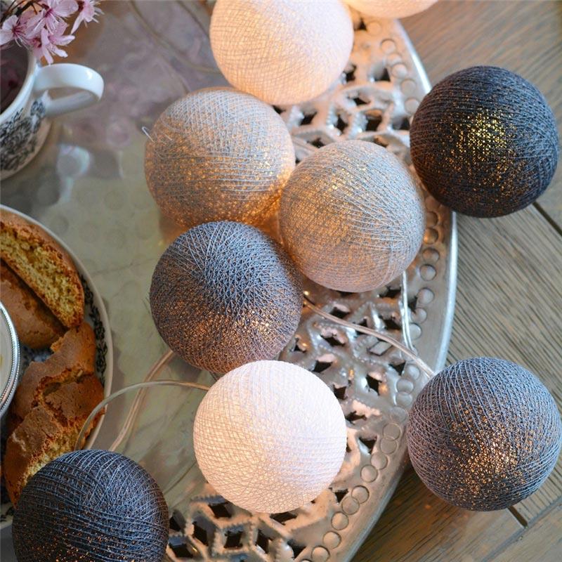 Christmas Decorations For Home Garland LED Cotton Balls String Lights Outdoor Luminaria Night Lamp Diwali Hanukkah Salon Wedding