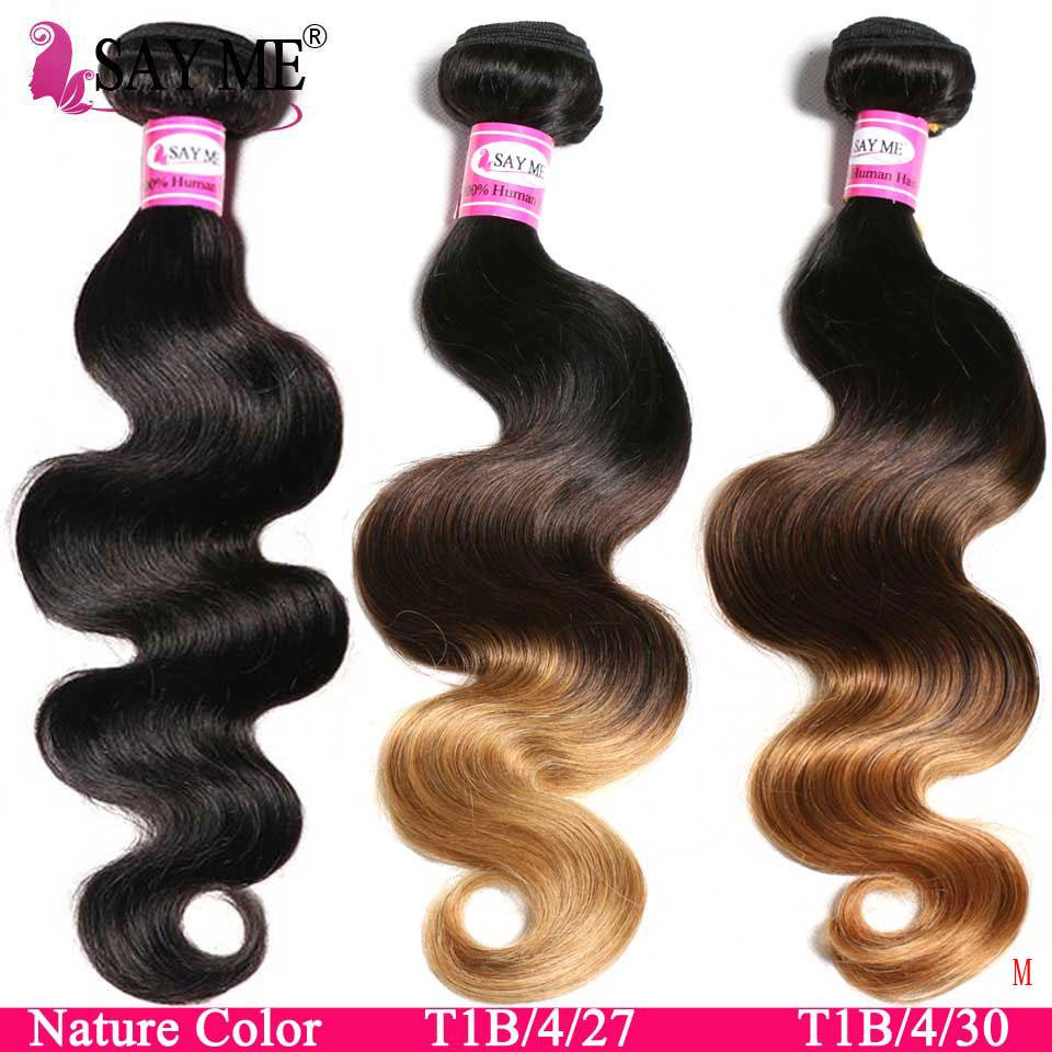 SAYME 3 4 Bundles Body Wave Bundles Brazilian Hair Weave Bundles 1B/4/27 30 Ombre Hair Bundles Remy Human Hair Extensions