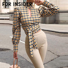 For Insider Sexy backless casual plaid blouse shirt Women hollow out bandage elegant ladies tops Turtleneck vintage club chemise