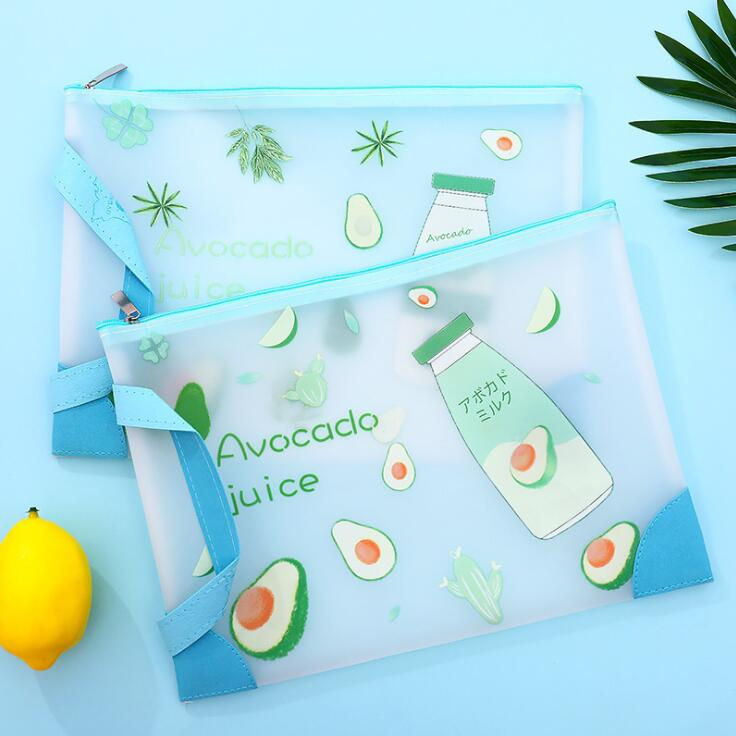 New Arrival 1PC Waterproof TPU Avocado A4 A5 File Folder Paper Organizer Storage Bag Protective Handbag Office School Stationery