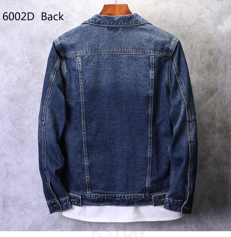 KSTUN Mens Jean Jacket Coats Light Blue Streetwear Loose Fit Ripped Denim Jacket for Man Teens Single-breasted Large Size 4XL 17