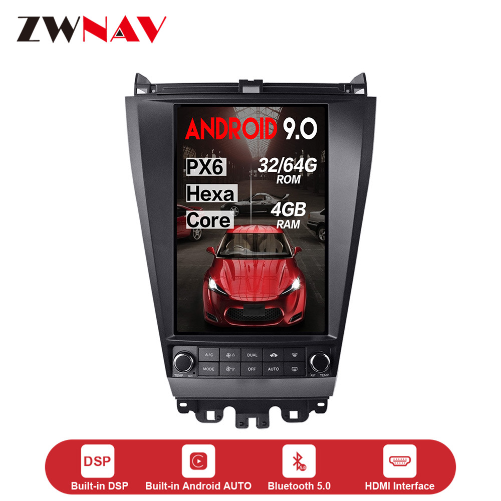 Verticl screen Tesla style Android 9.0 Car dvd multimedia Player For <font><b>Honda</b></font> <font><b>Accord</b></font> <font><b>2003</b></font>-2007 GPS navi audio radio <font><b>stereo</b></font> headunit image