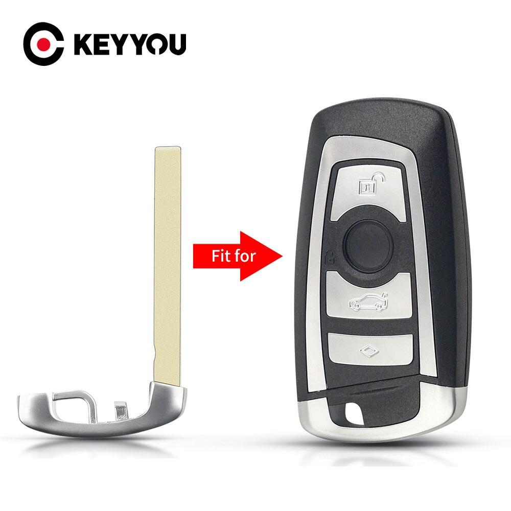 KEYYOU para BMW CAS4 F 3 5 7 Serie E90 E92 E93 X5 F10 F20 F30 F40 sin cortar en blanco hoja de llave inteligente Fob de emergencia insertar hoja clave
