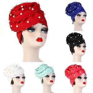 Image 5 - Helisopus perły zroszony Party Turban chusta hidżab kobiety duża gumka utrata włosów bandany muzułmańska chusta na głowę elegancka ozdoba do włosów akcesoria