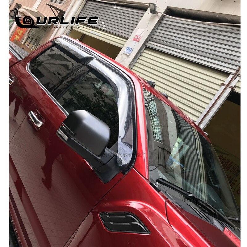 Купить с кэшбэком Side Wind Deflector For Ford raptor F150 2015-2019 Abs Black Sun Rain Deflector Window Visor Weather Shield