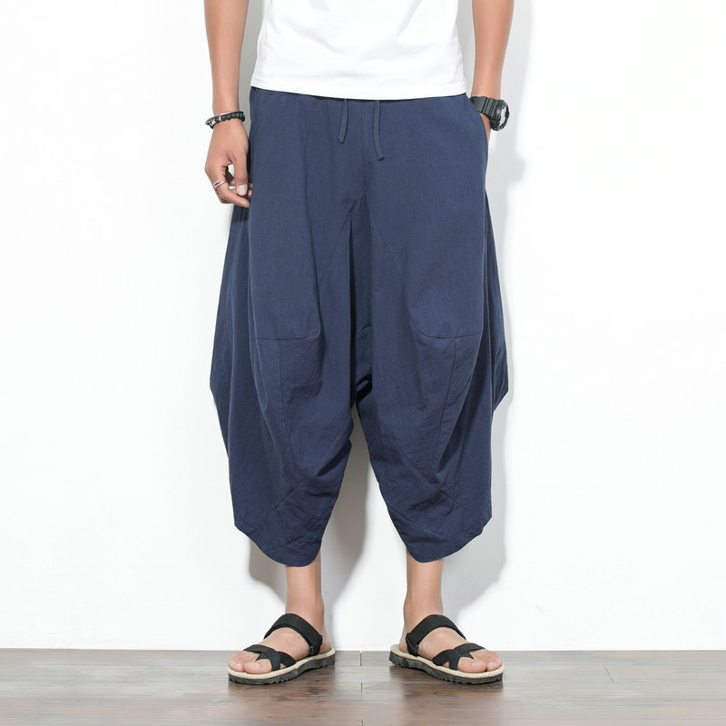 Chinese-style MEN'S Wear Summer New Style Casual Loose Pants Nepal Bloomers Loose-Fit hanging Crotch Cropped Trousers For Men