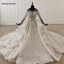 HTL1295 Beaded Wedding Dress Glitter O Neck Elegant Wedding Dress 2020 Long Sleeve Illusion Свадебное Платье С Пышными Рукавами