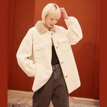 Wool-Coats Teddy ELFSACK Korean Outwear Autumn White Single-Breasted Women Ladies Casual