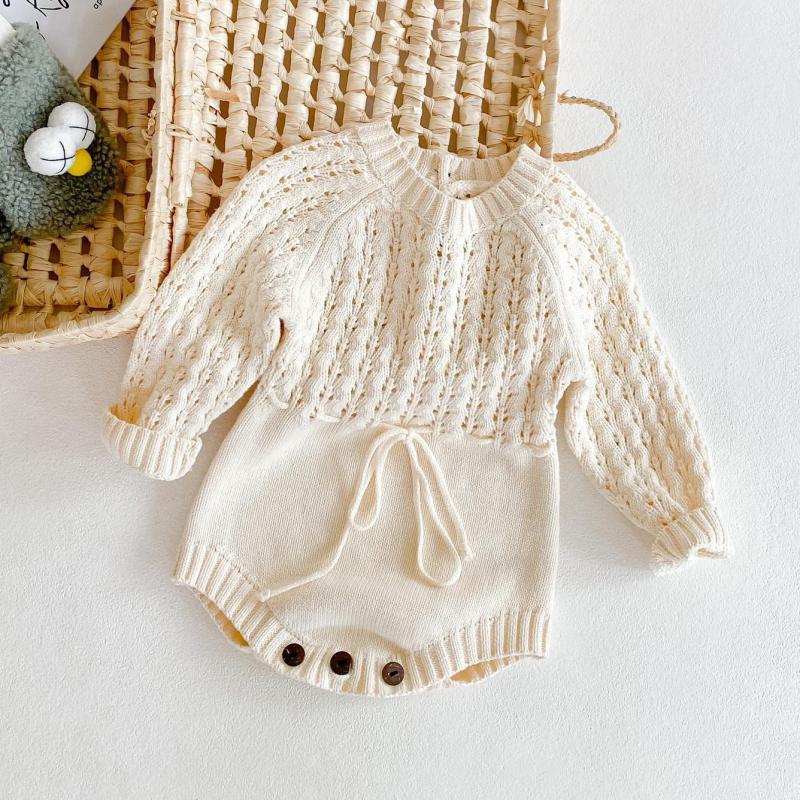 Весна 2021, новинка, Одежда для младенцев, вязаные комбинезоны с вырезами для новорожденных девочек, однотонные комбинезоны для малышей, детс...