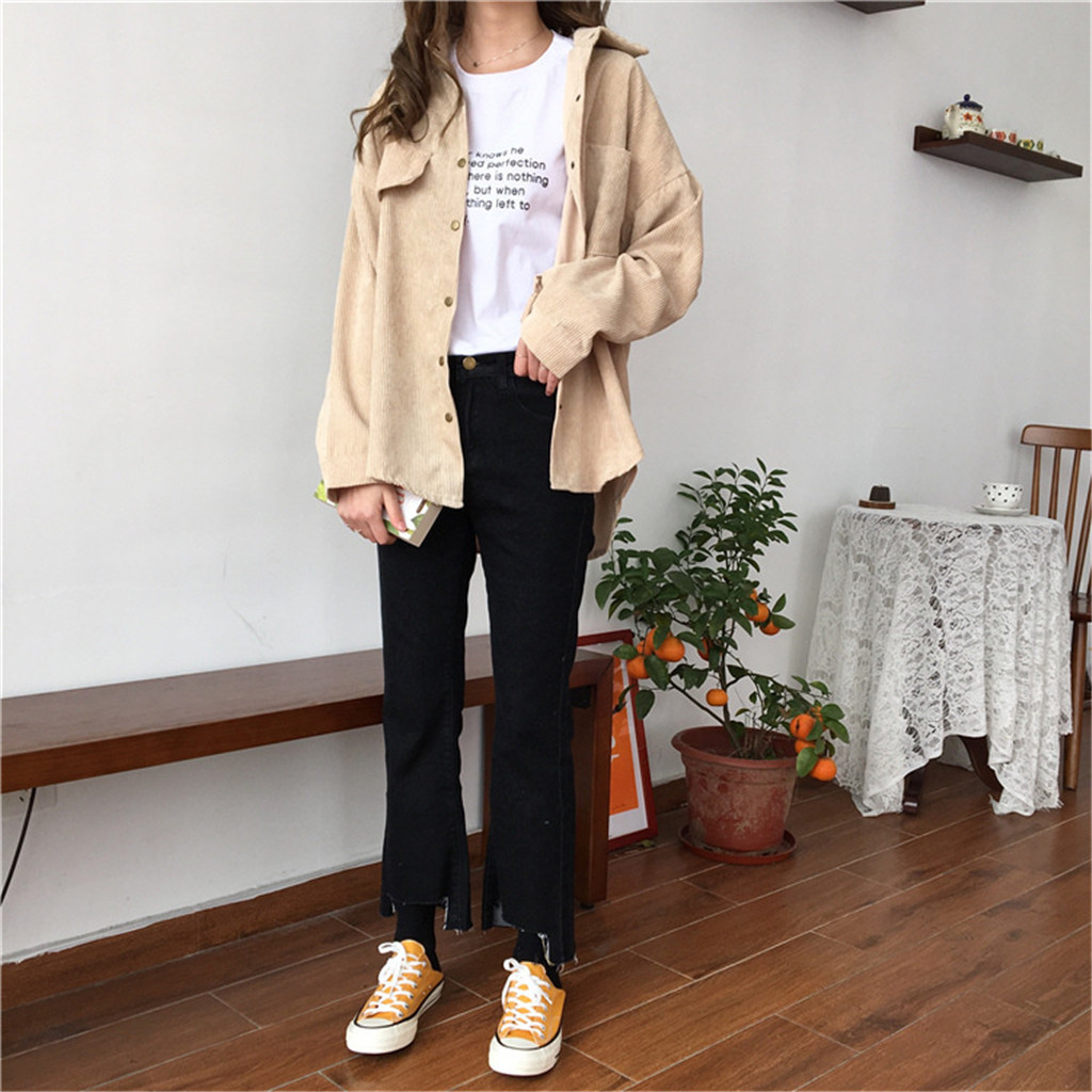Women Corduroy Jacket Top Shirt Coat Casual Vintage Loose Coat Women Jackets Women
