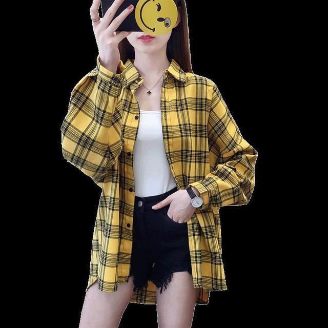 2020 fashion  summer blouse long sleeve female plaid shirt tops cotton vintage korean novelty streetwear loose 5