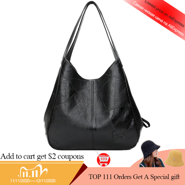SMOOZA 2020 New Vintage Leather Luxury Handbags Women Bags Designer Bags Famous Brand Women Bags Large Capacity Tote Bags Sac